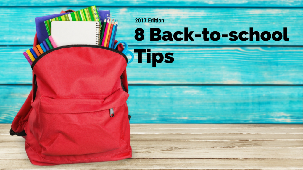 Image saying 8 Back to School Tips next to a red bookbag