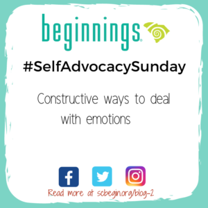 #SelfAdvocacySunday graphic saying Constructive ways to deal with emotions
