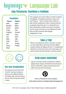 Click for a PDF of Emotions Language Lab