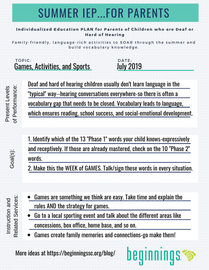 Summer IEP for Parents-Games (Click for a PDF)