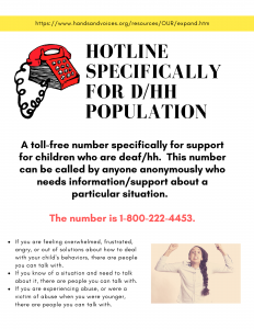 The Hotline Specifically for D/HH Population's number is 1-800-222-4453