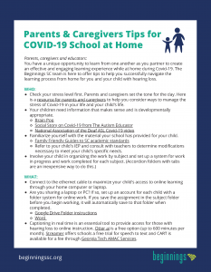 Click to download COVID 19 tip sheet for learning at home
