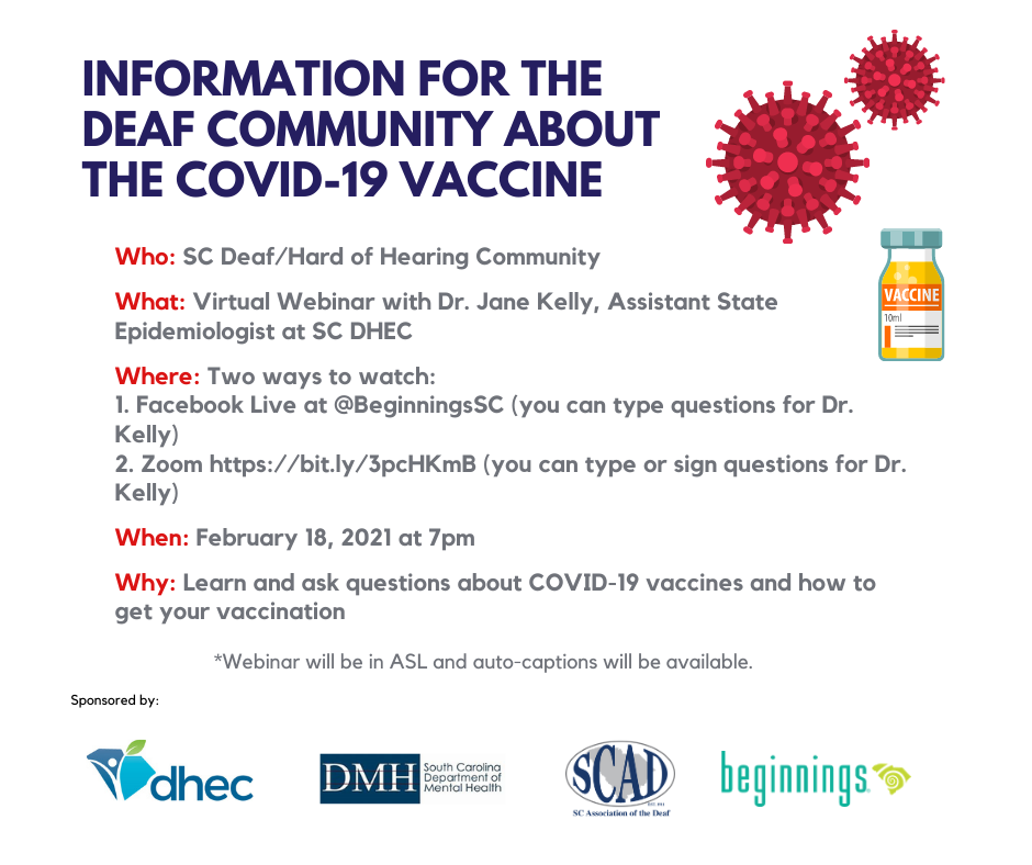 Flyer for COVID19 Vaccine webinar on Feb 18 at 7 pm